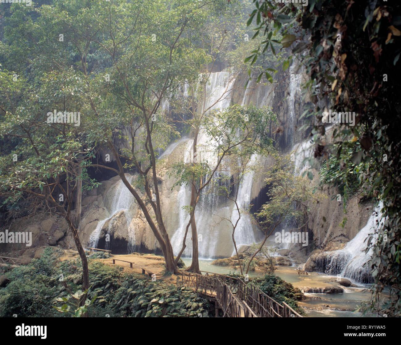 Laos. Landscape. Kuang Si waterfall.  Near Luang Prabang. - Stock Image