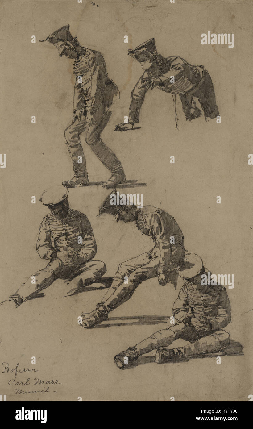 Five Studies of a Soldier, fourth quarter 19th century or first third 20th century. Carl Marr (American, 1858-1936). Graphite; sheet: 33.4 x 21.5 cm (13 1/8 x 8 7/16 in.); secondary support: 39.1 x 26.5 cm (15 3/8 x 10 7/16 in - Stock Image