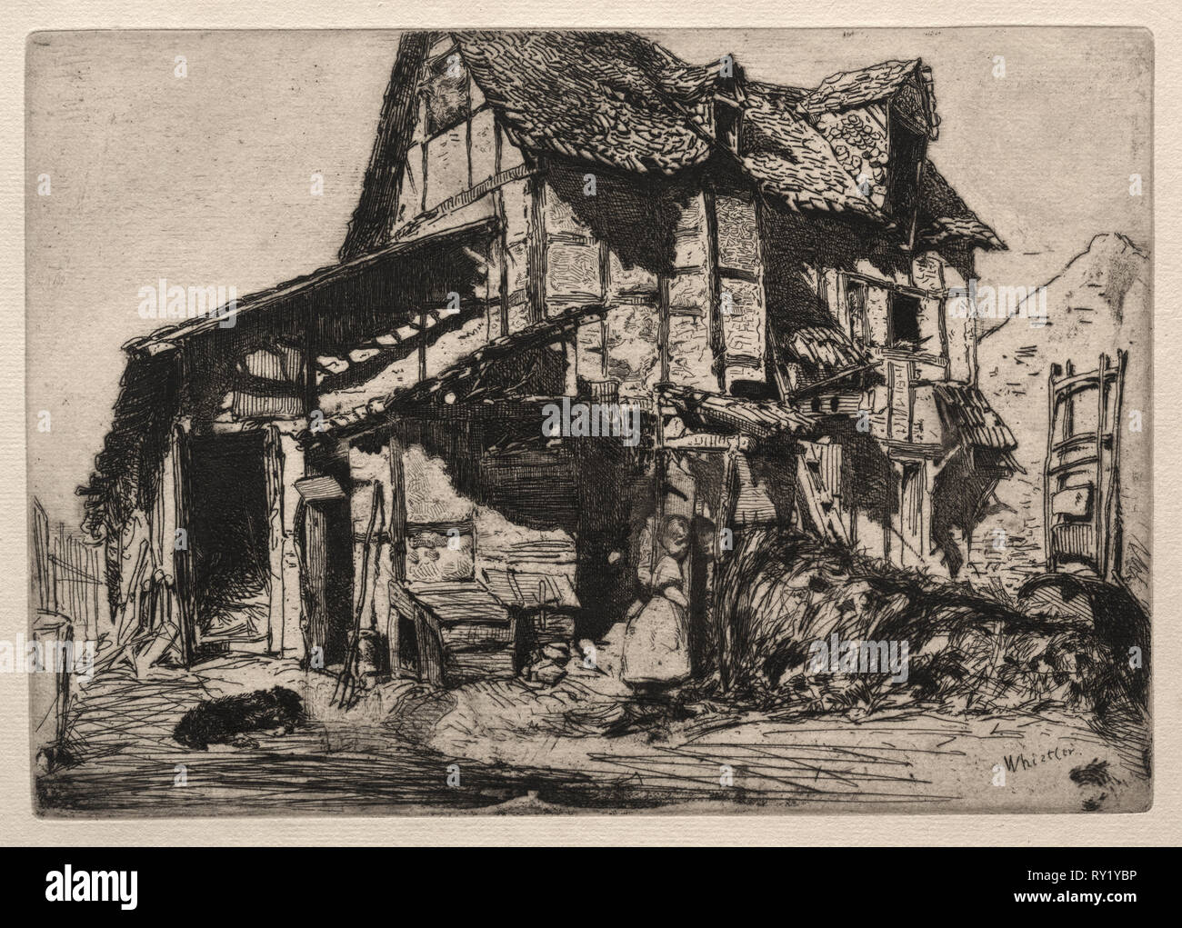 An Unsafe Tenement. James McNeill Whistler (American, 1834-1903). Etching - Stock Image