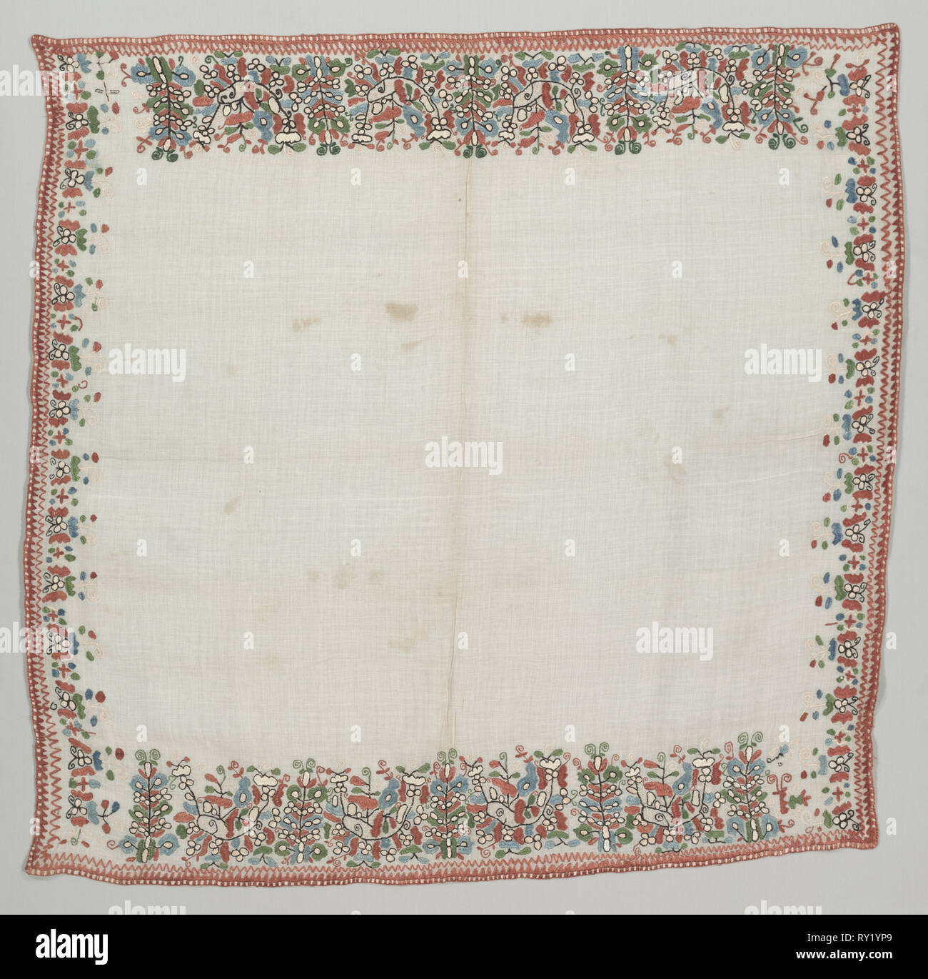 Headcloth, 1800's. Albania, 19th century. Linen, embroidered with silk; overall: 104.2 x 101.7 cm (41 x 40 1/16 in - Stock Image