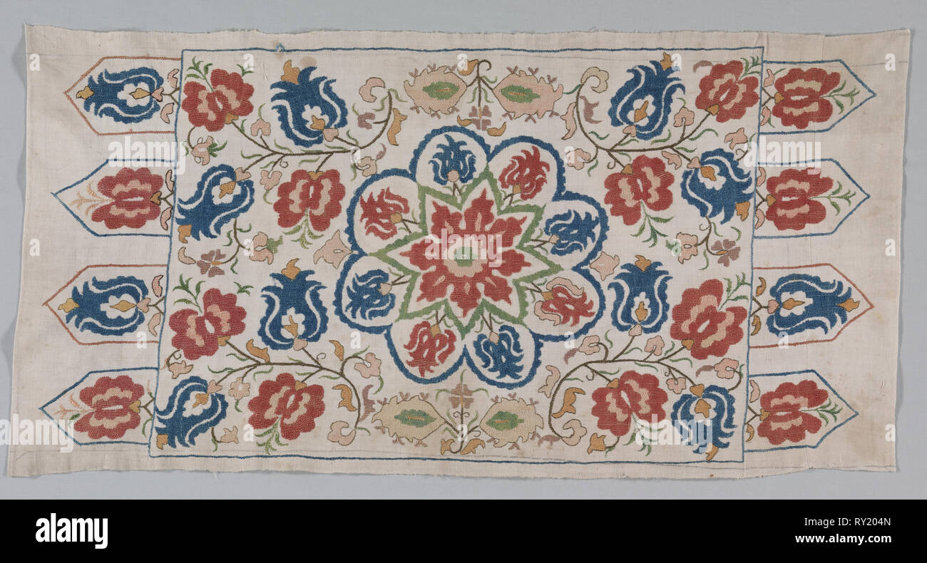 Embroidered cushion cover, 1700s. Turkey. Plain weave: linen; embroidery, self-couching and herringbone stitches: silk; average: 127 x 59.7 cm (50 x 23 1/2 in - Stock Image