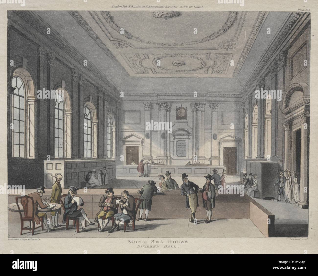 South Sea House, Dividend Hall, 1810. Thomas Rowlandson (British, 1756-1827), and Augustus Charles Pugin (British, 1762-1832). Etching - Stock Image
