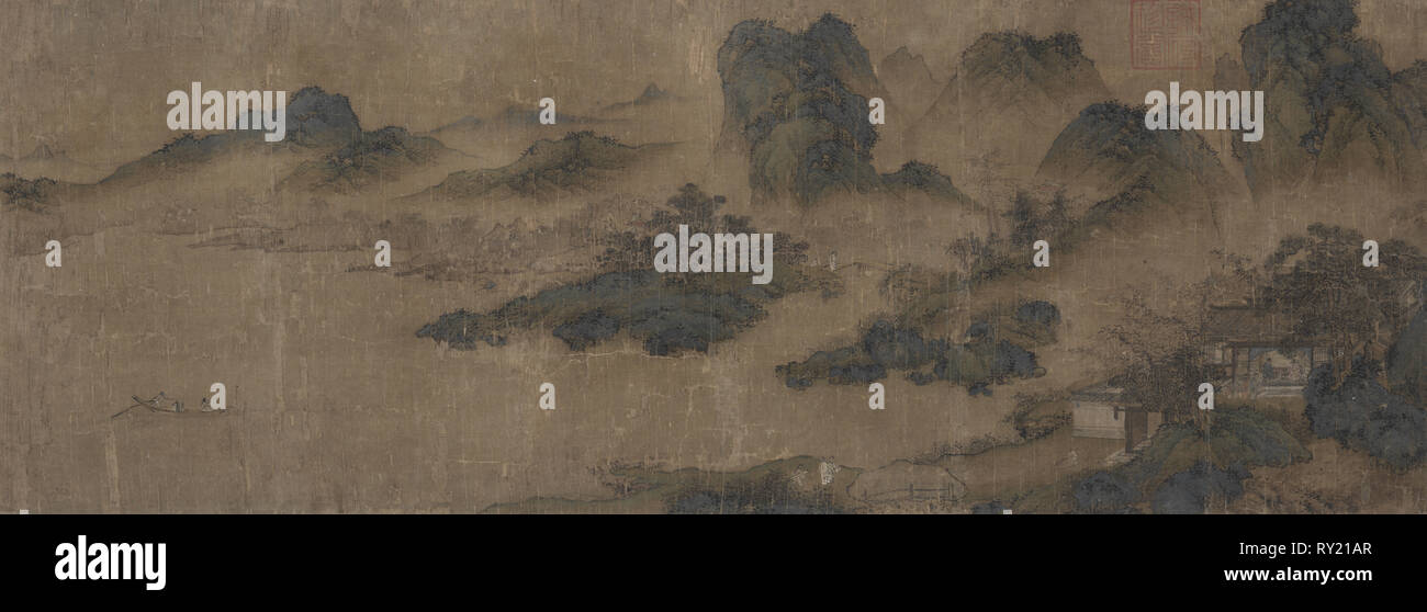 Visiting an Old Friend in the Spring Mountains, 1300s. After Sheng Mou (Tzu-chao) (Chinese, active c. 1330-1369). Hanging scroll: ink and slight color on silk; overall: 58.4 x 135.9 cm (23 x 53 1/2 in - Stock Image