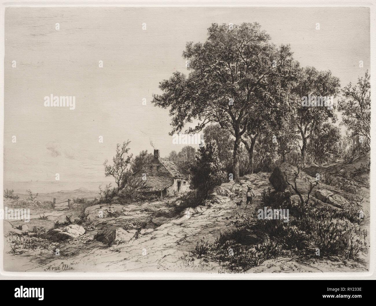 109: Cottage by the Sea. Hendrik Dirk Kruseman van Elten (American, 1829-1904). Etching - Stock Image