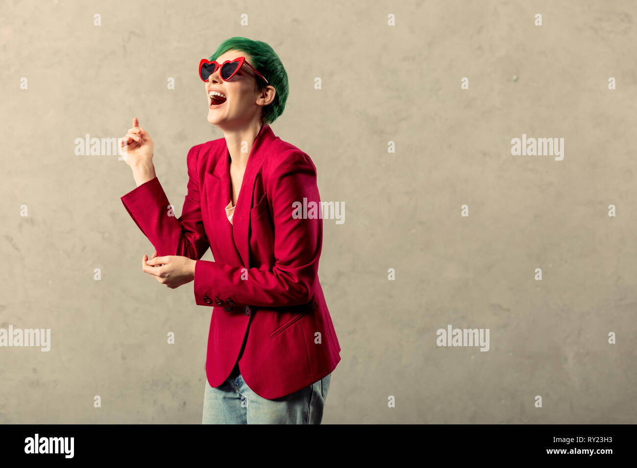 Nice stylish woman wearing very trendy clothes Stock Photo