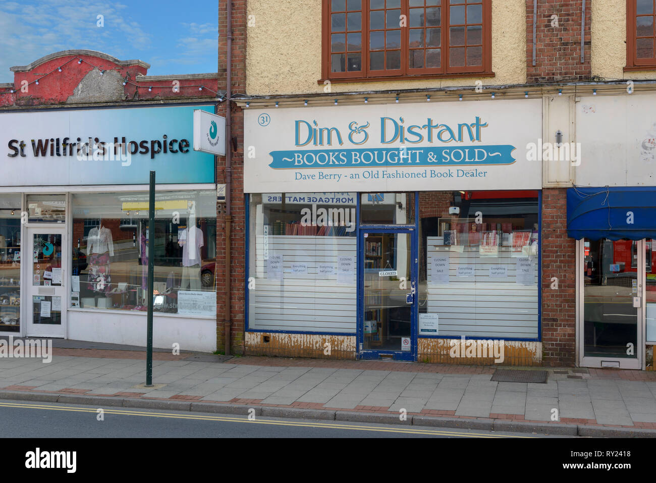 Book dealer and charity shop, Heathfield, East Sussex, England, UK - Stock Image