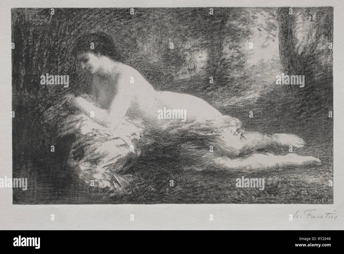 Réverie. Henri Fantin-Latour (French, 1836-1904). Lithograph - Stock Image