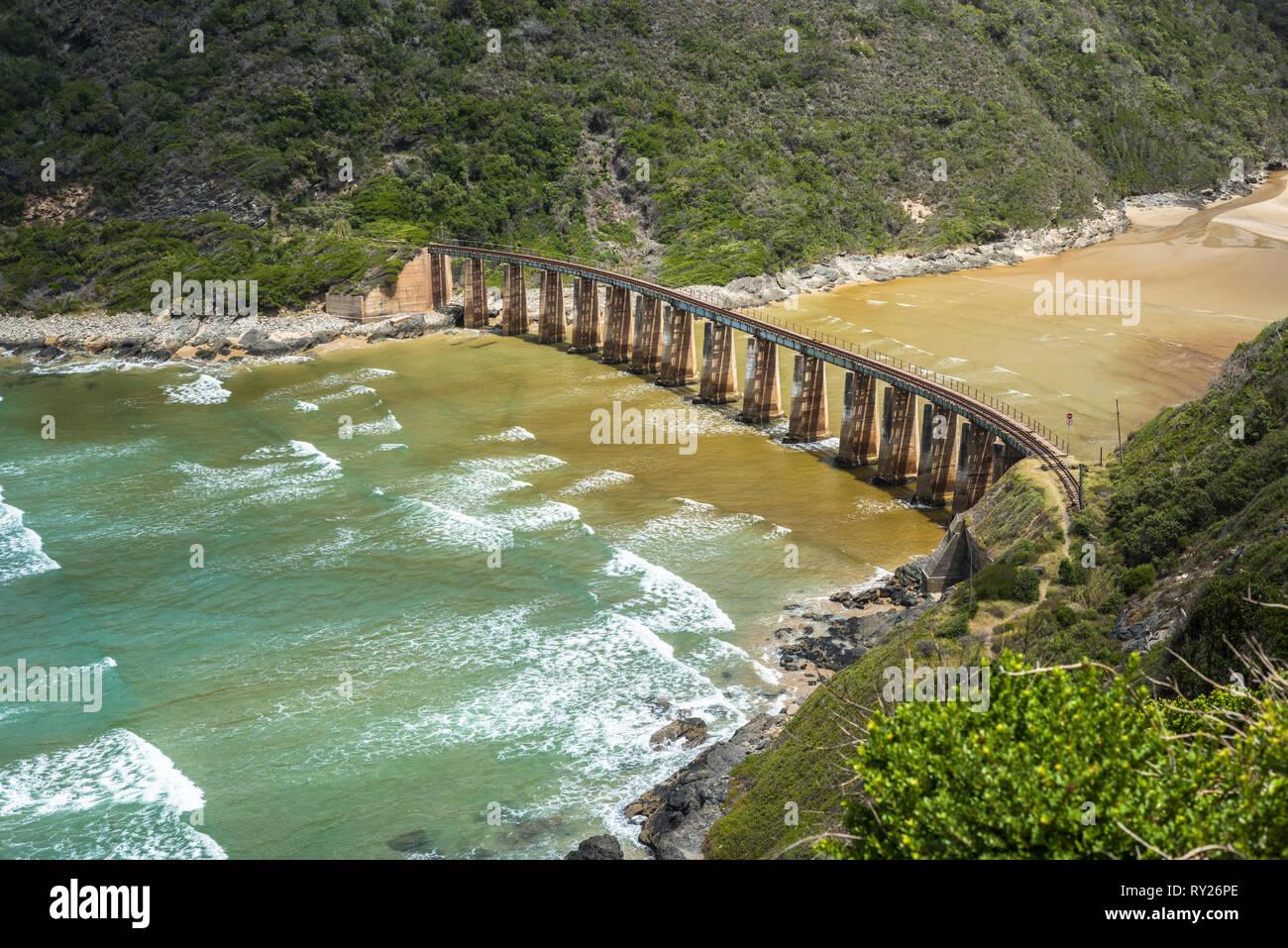 Kaaimans River Railway Bridge, Wilderness, Garden Route, South Africa Stock Photo