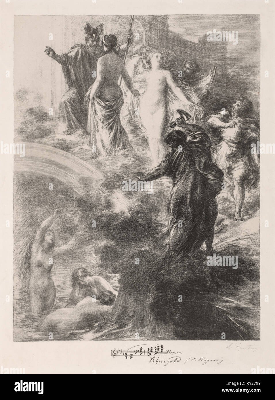 Finale of the Rhinegold, 1877. Henri Fantin-Latour (French, 1836-1904). Lithograph - Stock Image