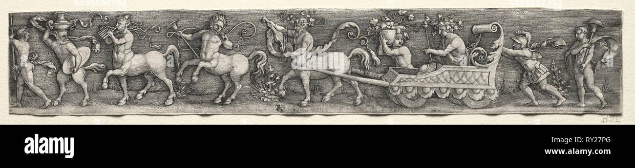 Triumph of Bacchus, c. 1539. Georg Pencz (German, c. 1500-1550). Engraving - Stock Image