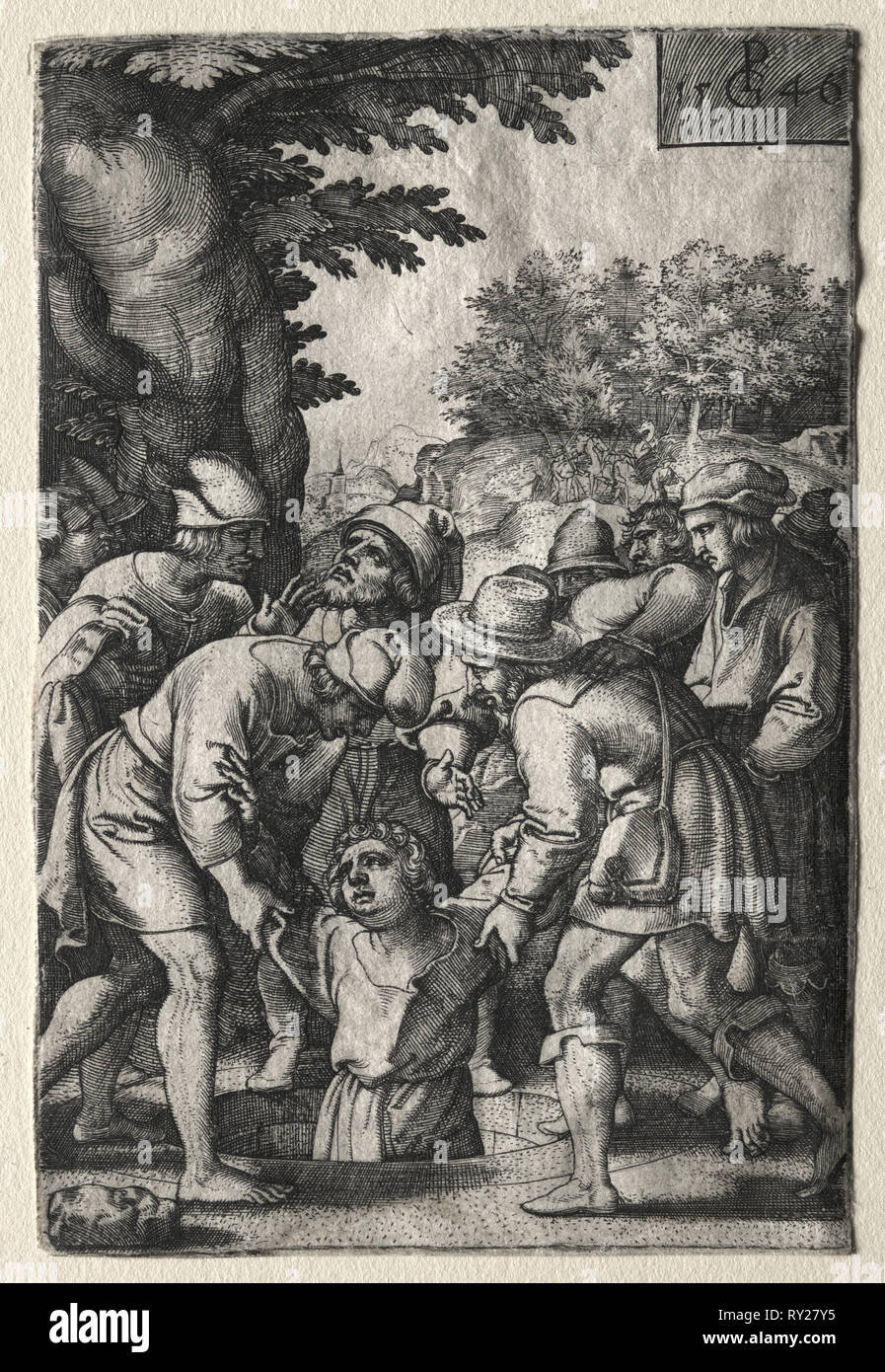 Joseph Lowered into a Well, 1546. Georg Pencz (German, c. 1500-1550). Engraving - Stock Image