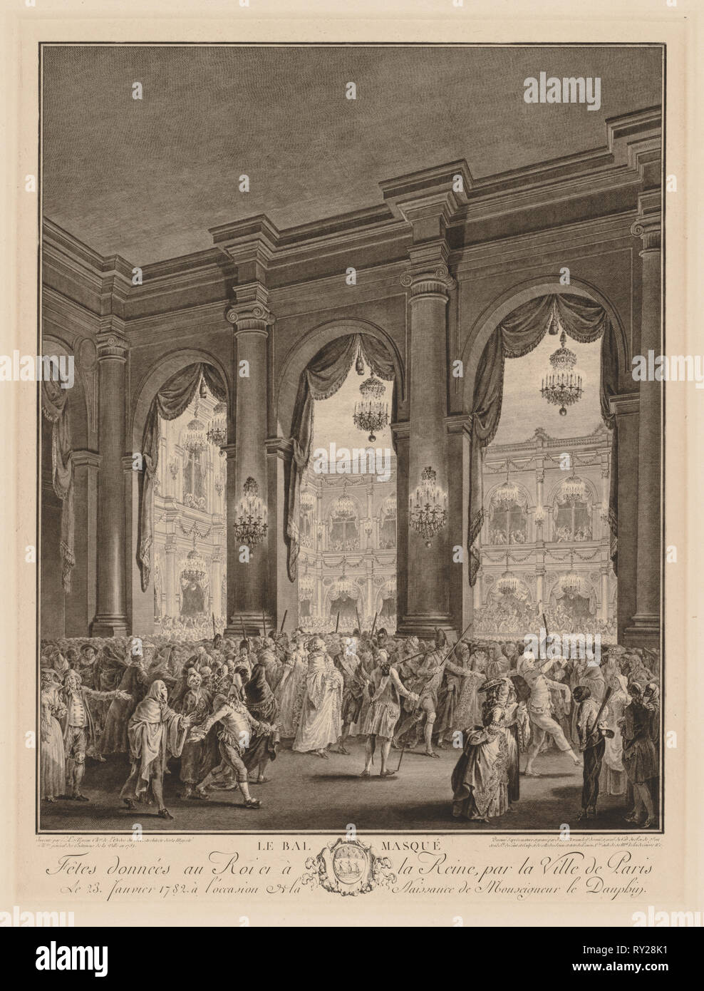 The Masked Ball, 1782. Jean-Michel the Younger Moreau (French, 1741-1814). Engraving - Stock Image