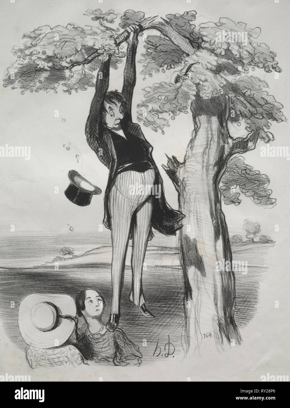 published in le Charivari (no du 29 mai 1845): Pastorales, plate 2: The Hazards of shaking a plum tree too vigorously (when one is a grown man), 1845. Honoré Daumier (French, 1808-1879). Lithograph; sheet: 35.6 x 27.3 cm (14 x 10 3/4 in - Stock Image