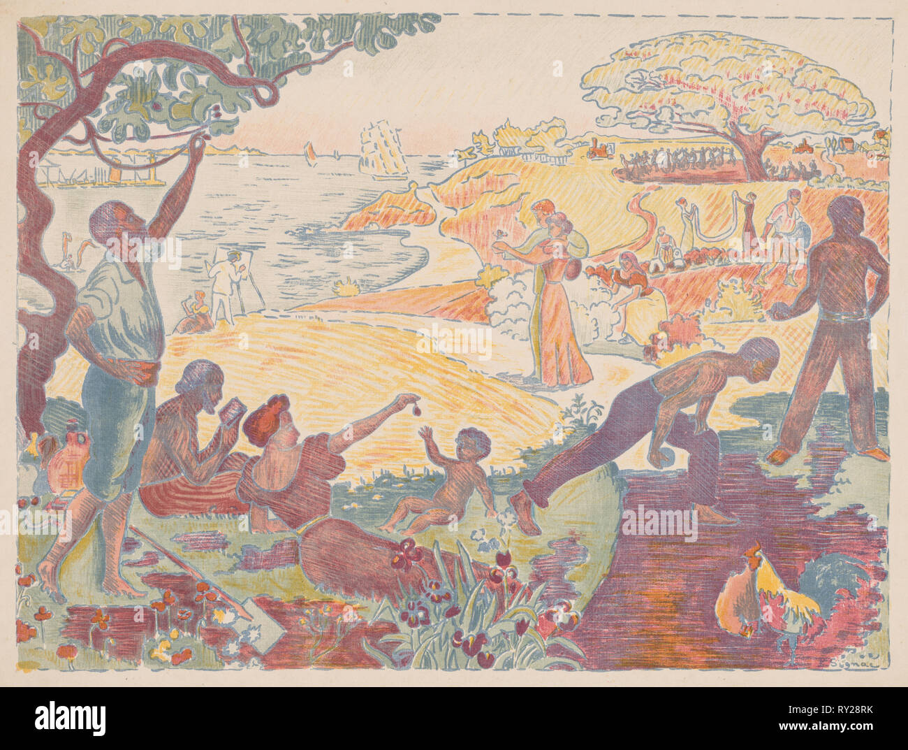 Harmonious Times, 1895-1896. Paul Signac (French, 1863-1935). Color lithograph; sheet: 50 x 37.6 cm (19 11/16 x 14 13/16 in Stock Photo