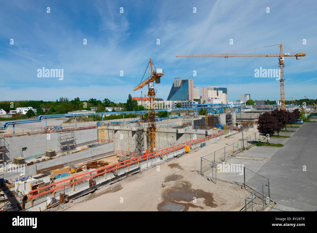 Bauarbeiten, Verlaengerung, Autobahn, A 100, Grenzallee, Treptow, Berlin, Deutschland - Stock Image