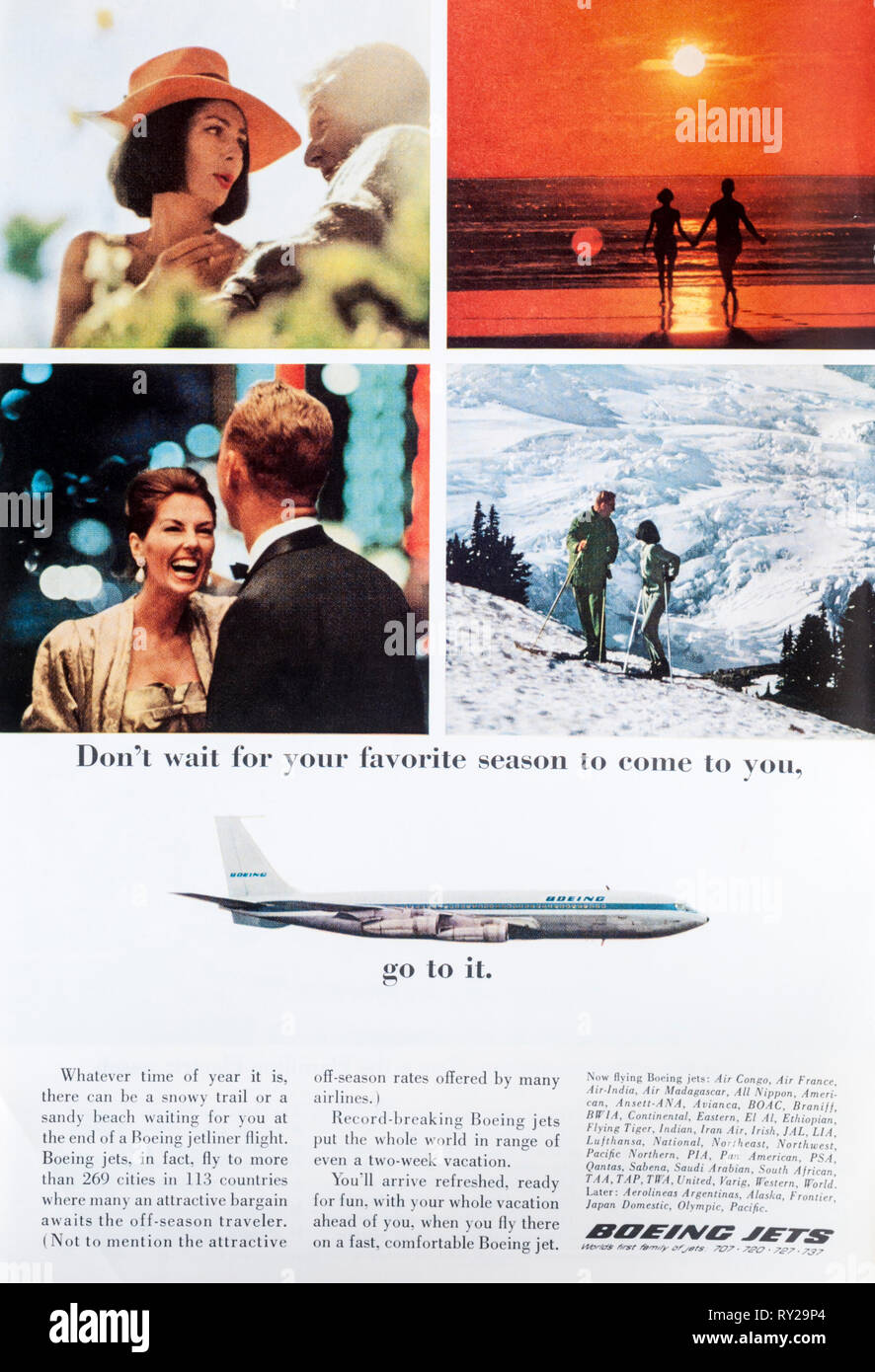 A 1965 magazine advert advertising Boeing jets. - Stock Image
