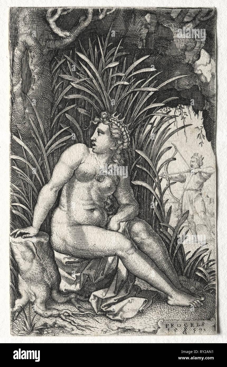 Procris, 1539. Georg Pencz (German, c. 1500-1550). Engraving - Stock Image