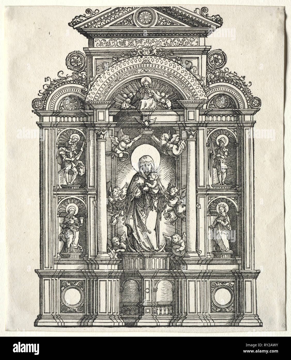 Great Altar with the Virgin, in a border with SS. Christopher, George, Barbara, Catherine, 1520. Albrecht Altdorfer (German, c. 1480-1538). Woodcut - Stock Image