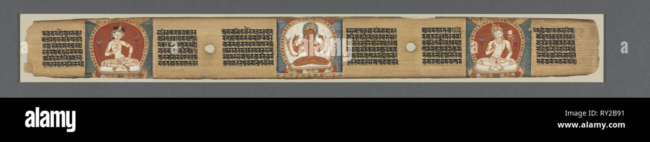 Perfection of Wisdom in Eight Thousand Lines: Ashtasahasrika Prajnaparamita: Decorated Leaf, 1119. India, Bihar, Vikramashila Monastery. Ink and color on palm leaf; leaf: 5.4 x 56.2 cm (2 1/8 x 22 1/8 in - Stock Image