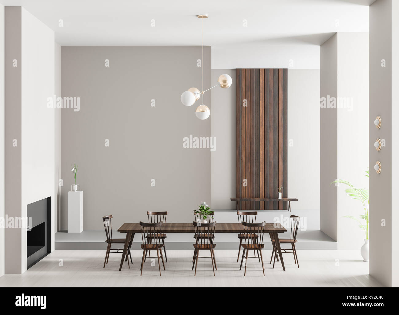 Spacious Luxury Dining Room With Fireplace Minimalist Modern Dining Room Design 3d Illustration Stock Photo Alamy