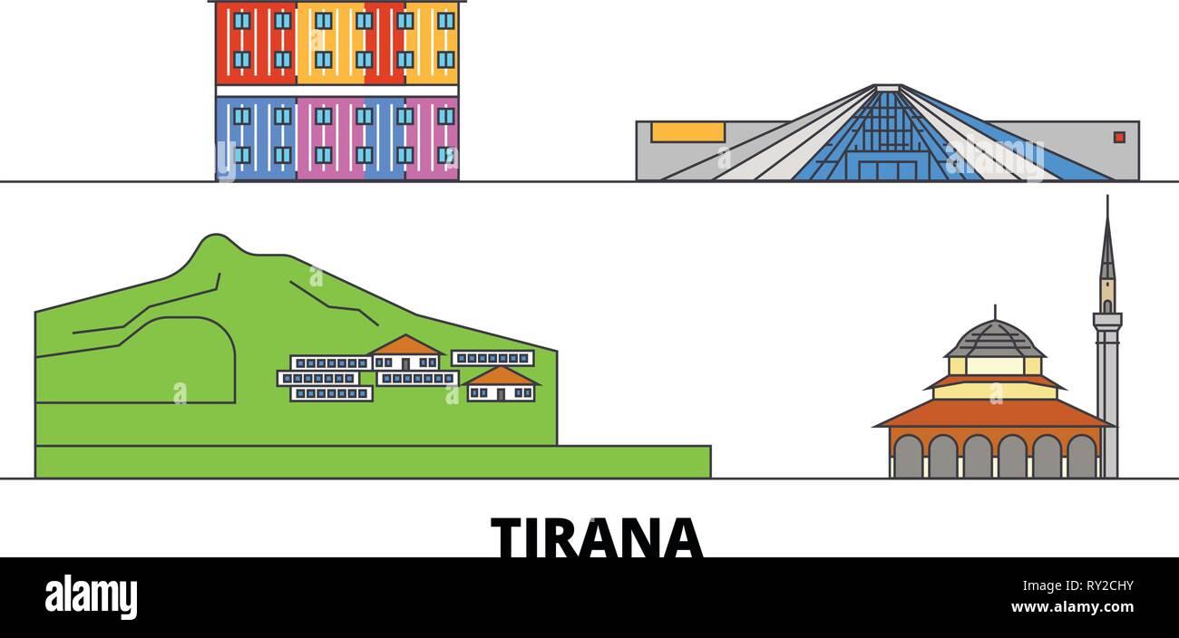 Albania, Tirana flat landmarks vector illustration. Albania, Tirana line city with famous travel sights, skyline, design.  - Stock Vector