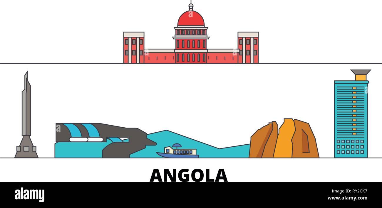 Angola  flat landmarks vector illustration. Angola  line city with famous travel sights, skyline, design.  - Stock Vector