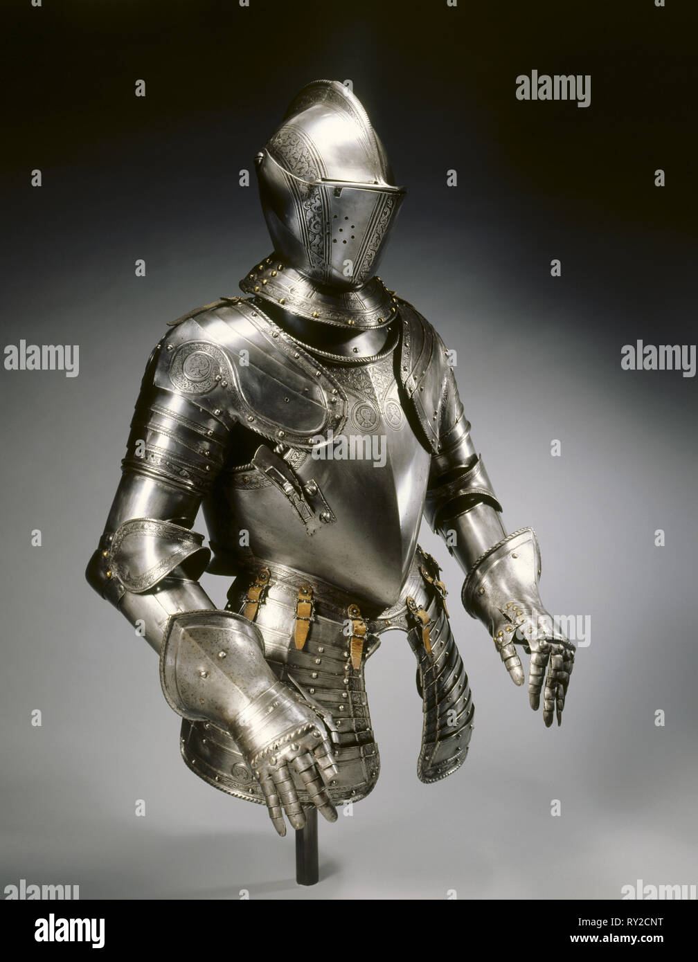 Half-Suit of Armor for the Field, c. 1575. North Italy, Brescia (?), 16th century. Steel with etched decorative bands and roundels - Stock Image