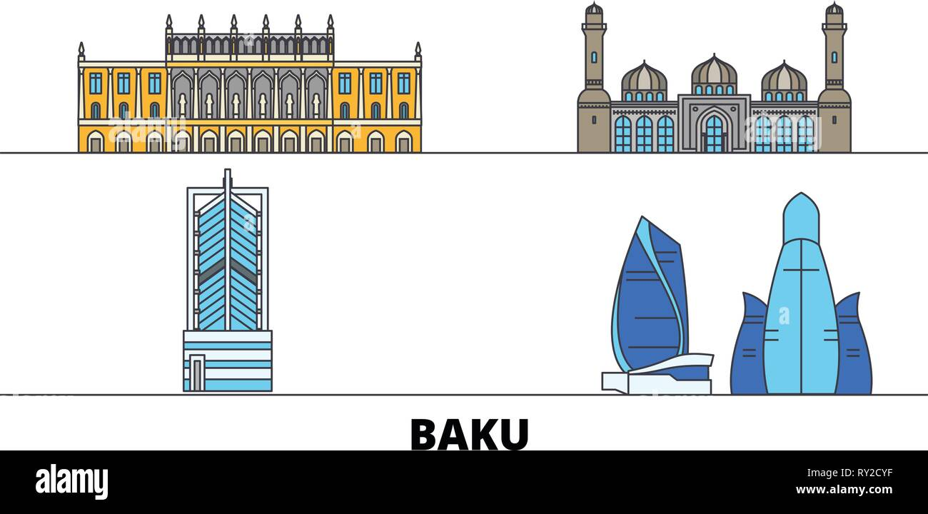 Azerbaijan, Baku flat landmarks vector illustration. Azerbaijan, Baku line city with famous travel sights, skyline, design.  - Stock Vector