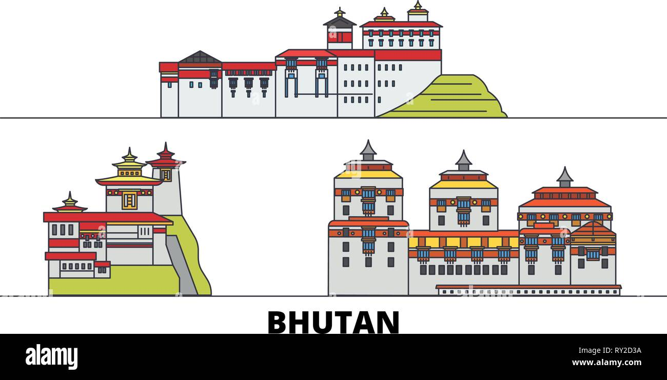 Bhutan flat landmarks vector illustration. Bhutan line city with famous travel sights, skyline, design.  - Stock Vector