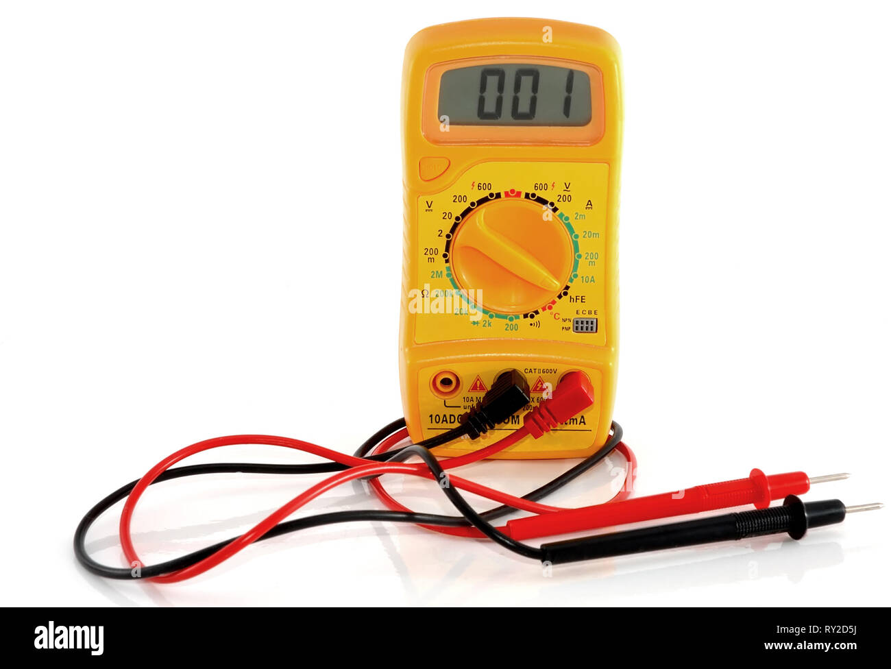 Yellow multimeter on white background - isolated - Stock Image