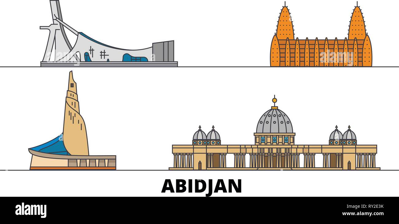 Cote Divoire, Abidjan flat landmarks vector illustration. Cote Divoire, Abidjan line city with famous travel sights, skyline, design.  - Stock Image