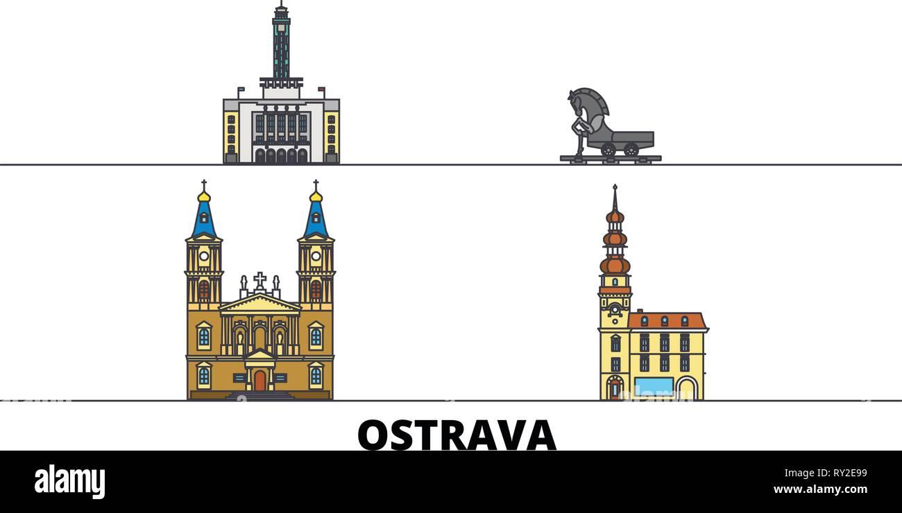 Czech Republic, Ostrava flat landmarks vector illustration. Czech Republic, Ostrava line city with famous travel sights, skyline, design.  - Stock Image