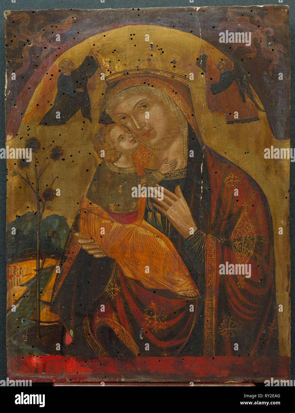 Virgin and Child, 1400s. Byzantine (Dalmatian?), 15th century. Tempera and gold on wood; framed: 63.5 x 50.8 x 10.2 cm (25 x 20 x 4 in.); unframed: 38.5 x 29.3 cm (15 3/16 x 11 9/16 in - Stock Image