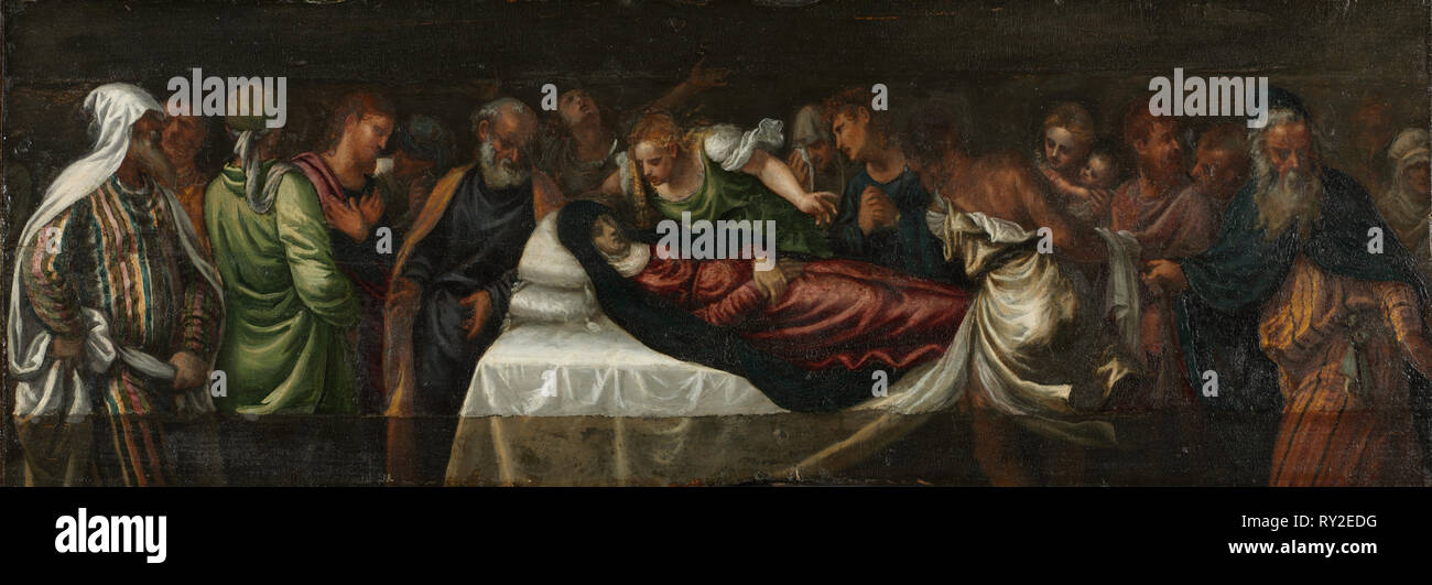 Death of the Virgin, mid-1500s. Italy, Venice, 16th century. Oil on wood; framed: 78.8 x 130.9 cm (31 x 51 9/16 in.); unframed: 25 x 103.5 cm (9 13/16 x 40 3/4 in - Stock Image