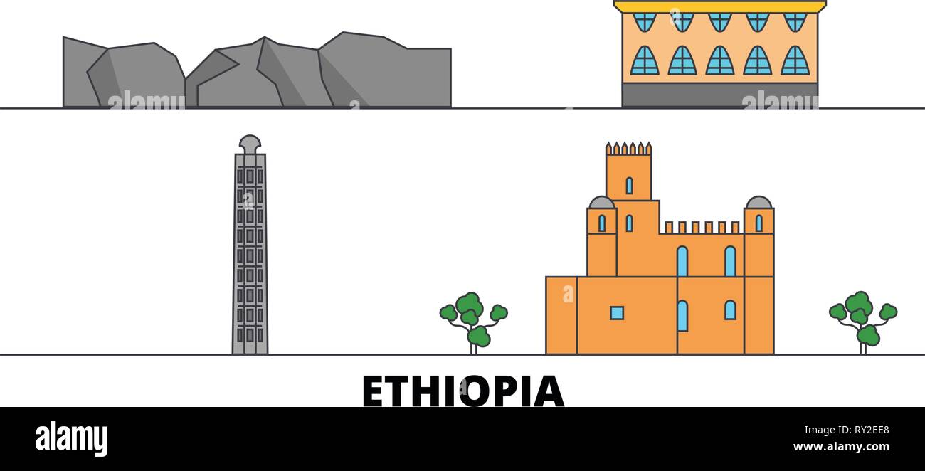Ethiopia flat landmarks vector illustration. Ethiopia line city with famous travel sights, skyline, design.  - Stock Vector
