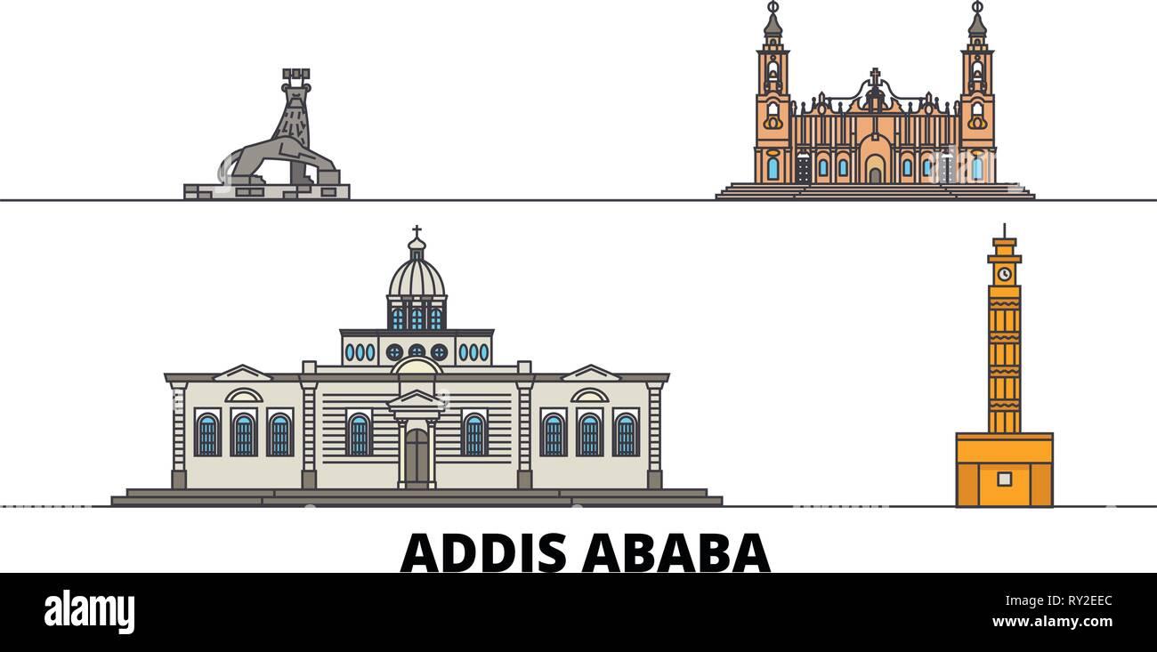 Ethiopia, Addis Ababa flat landmarks vector illustration. Ethiopia, Addis Ababa line city with famous travel sights, skyline, design.  - Stock Vector