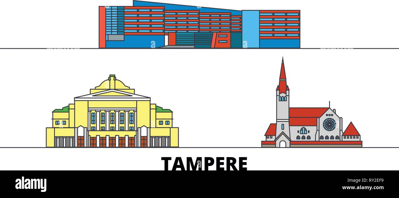 Finland, Tampere flat landmarks vector illustration. Finland, Tampere line city with famous travel sights, skyline, design.  - Stock Vector