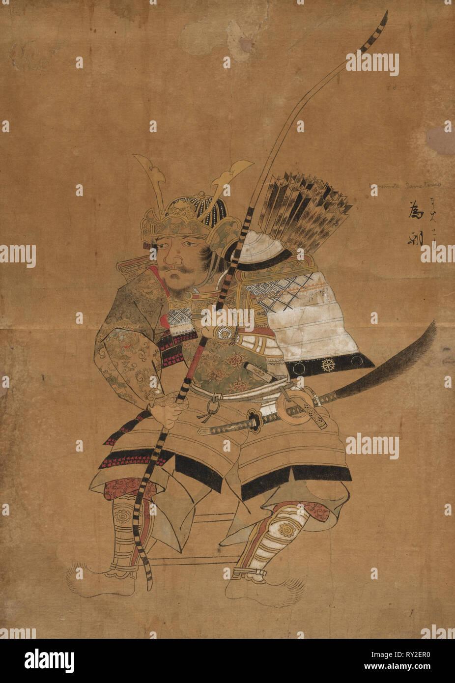 Minemotto Tametomo in Armor, 1615-1868. Japan, Ukiyo-e School, Edo Period (1615-1868). overall: 38.8 x 55 cm (15 1/4 x 21 5/8 in - Stock Image