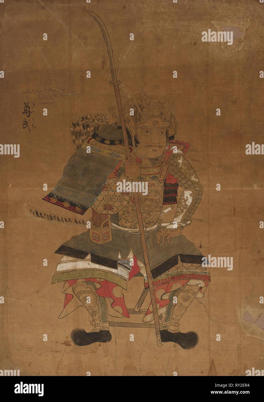 Shogun Ashikaga Tokonji in Armor, 1615-1868. Japan, Ukiyo-e School, Edo Period (1615-1868). overall: 38.8 x 55 cm (15 1/4 x 21 5/8 in - Stock Image