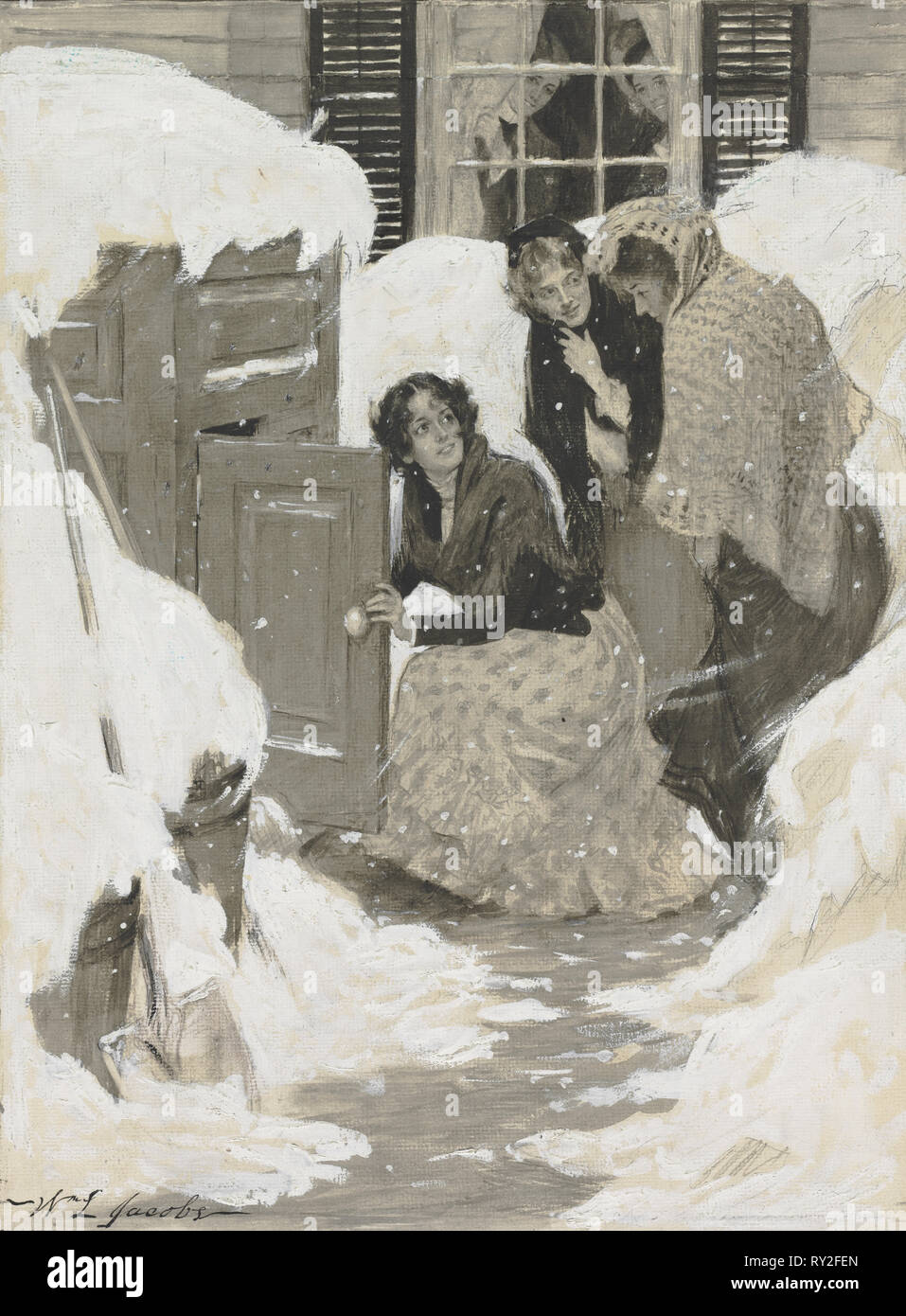Sketch for a Book Illustration. William Leroy Jacobs (American, 1869-1917). Watercolor - Stock Image