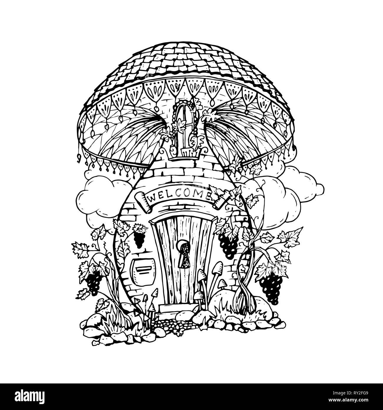 Mushroom house hand drawn illustration fairy composition