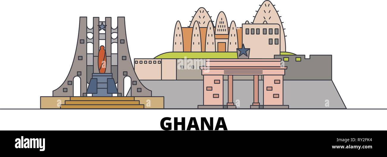 Ghana flat landmarks vector illustration. Ghana line city with famous travel sights, skyline, design.  - Stock Vector