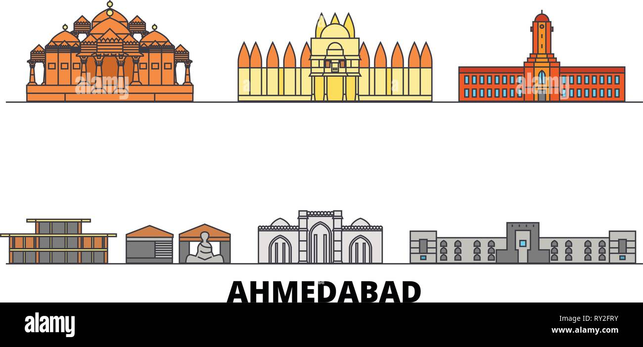 India, Ahmedabad flat landmarks vector illustration. India, Ahmedabad line city with famous travel sights, skyline, design.  - Stock Vector