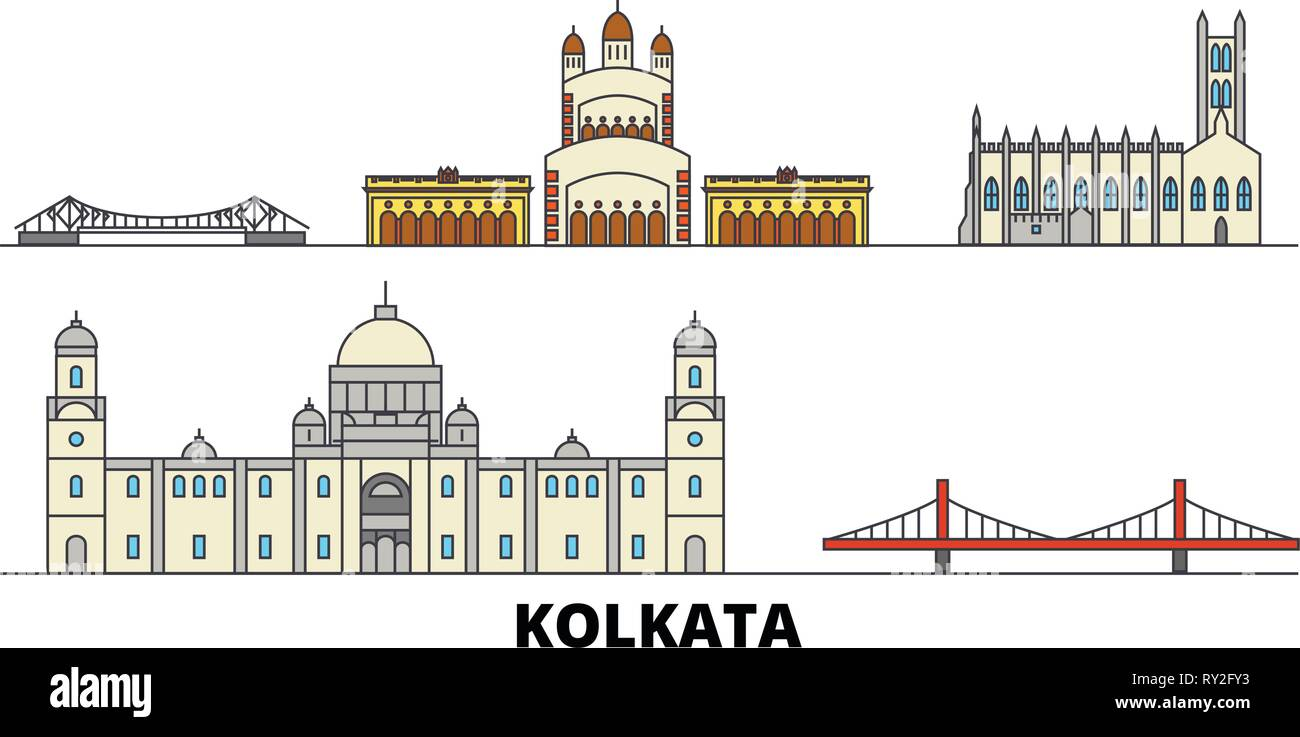 India, Kolkata flat landmarks vector illustration. India, Kolkata line city with famous travel sights, skyline, design.  - Stock Vector