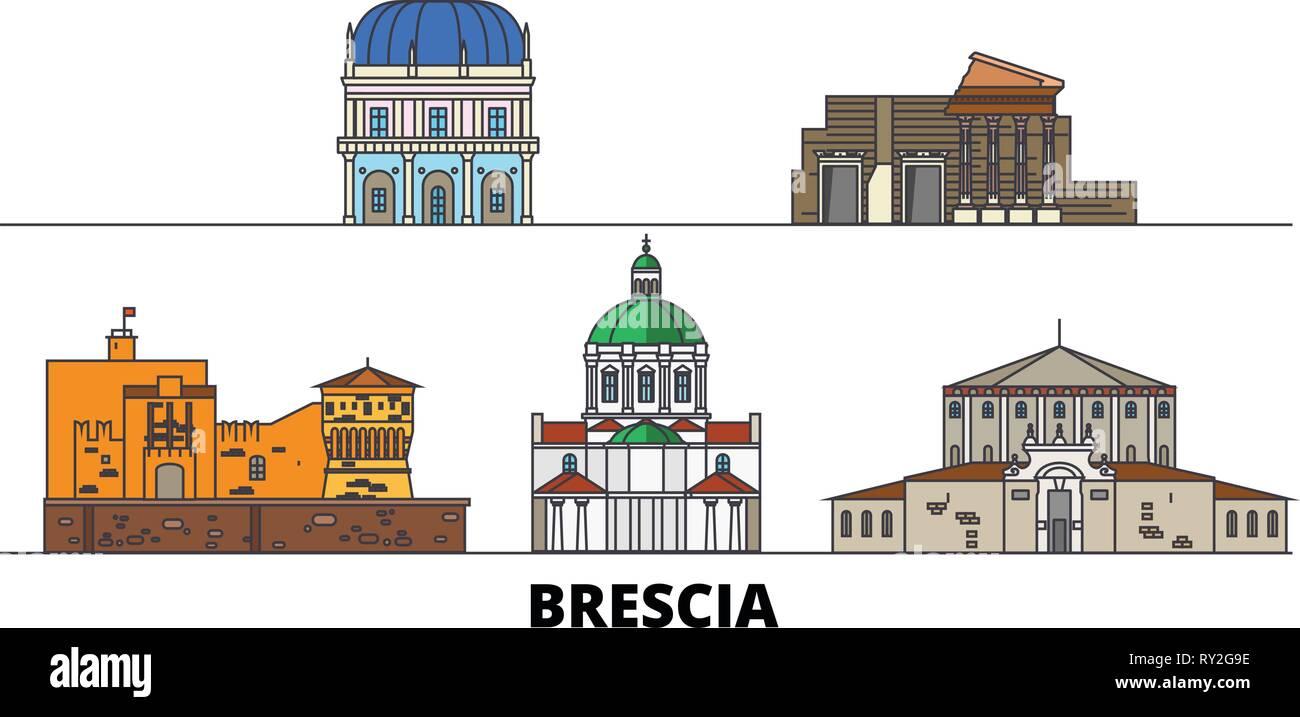 Italy, Brescia flat landmarks vector illustration. Italy, Brescia line city with famous travel sights, skyline, design.  Stock Vector