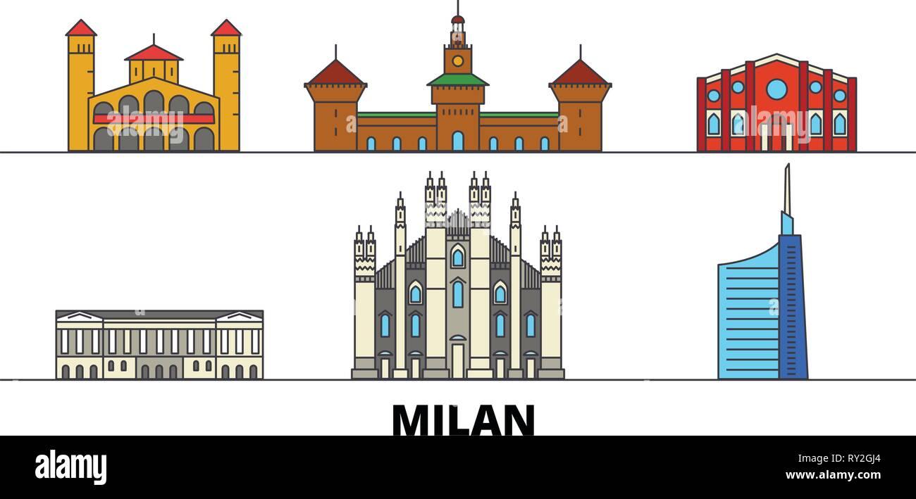 Italy, Milan flat landmarks vector illustration. Italy, Milan line city with famous travel sights, skyline, design.  - Stock Vector