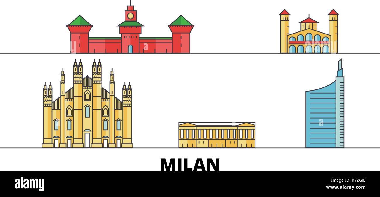 Italy, Milan City flat landmarks vector illustration. Italy, Milan City line city with famous travel sights, skyline, design.  - Stock Vector
