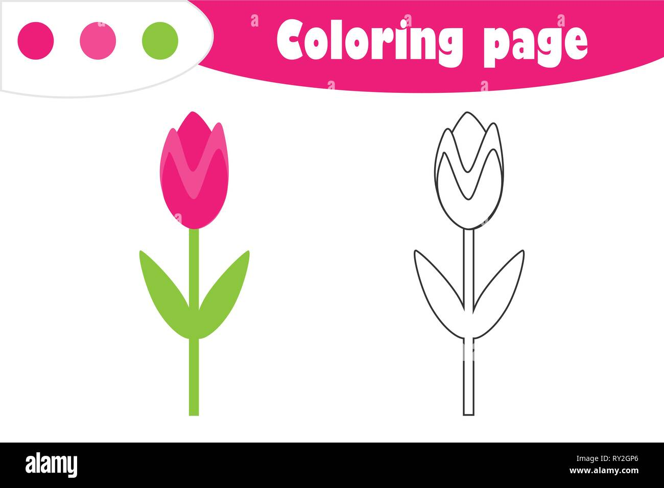 graphic regarding Tulip Printable named Tulip within just cartoon design and style, coloring website page, spring education and learning