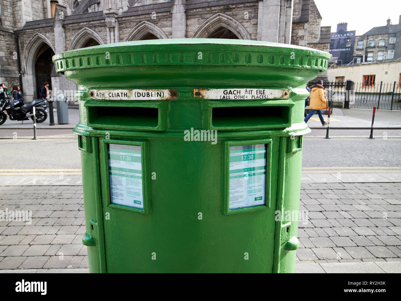 green irish double post box with the old posts and telegraphs p t logo Dublin Republic of Ireland Europe - Stock Image