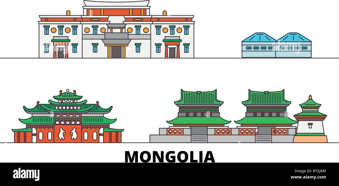 Mongolia flat landmarks vector illustration. Mongolia line city with famous travel sights, skyline, design.  - Stock Vector